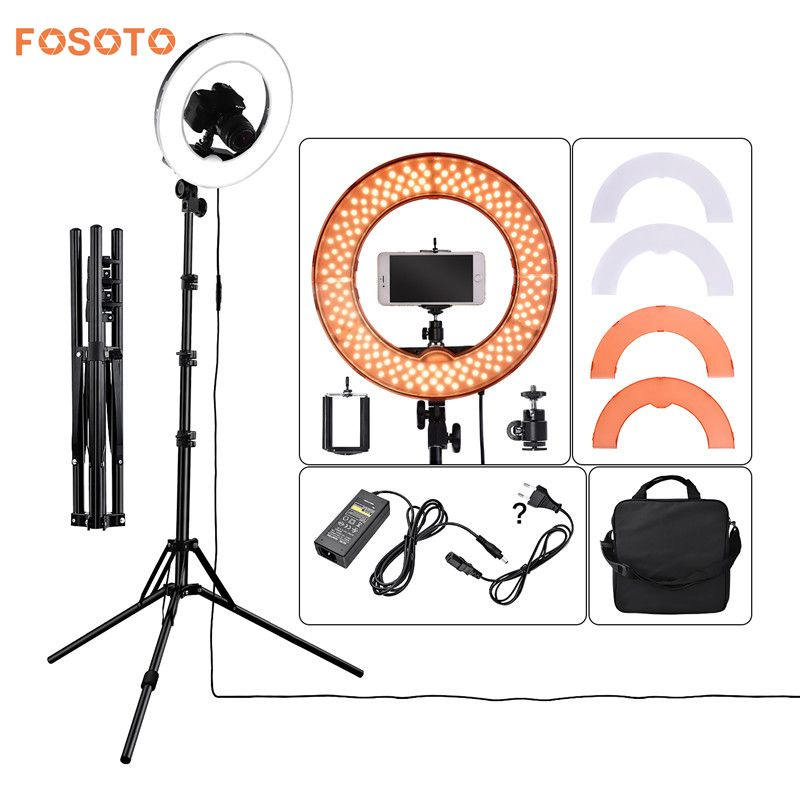 fosoto RL-12 photographic lighting 42W 5500K 180 LED Dimmable Camera Photo Studio Phone Photography Ring Light Lamp&Tripod Stand fosoto rl 18 55w 5500k 240 led photographic lighting dimmable camera photo studio phone photography ring light lamp