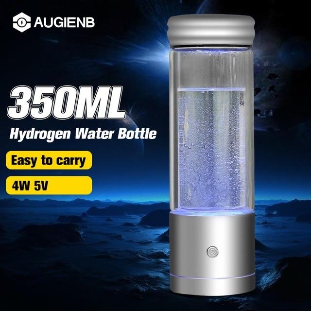 AUGIENB 350ml Hydrogen Rich Water Bottle Alkaline Ionizer Generator Healthy Anti-Aging USB  Rechargeable LED Light
