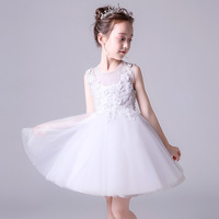 Sweet Summer White Mesh Sleeve Flower Girl Dresses for Wedding Kids Princess Puffy Graduation Pageant Dress Carnival Costume