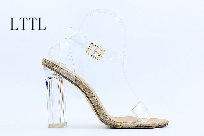 ФОТО 2017 hot selling jelly shoes fashion mixed colors women shoes sexy transparent high hels sandals chaussure femme sandalias muje