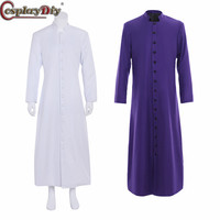 CosplayDiy Single Breasted Button Coat Men's Medieval Wicca Pagan Ritual Costume Clergy Cassock Roman Orthodox Long Tabard Robe
