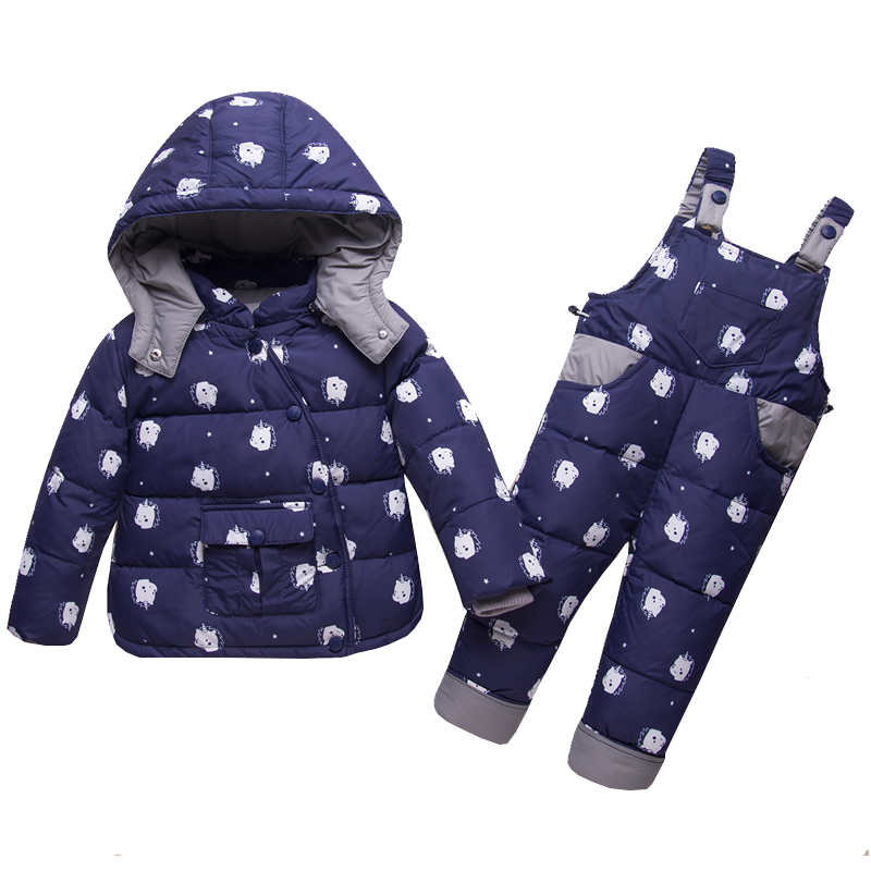 Mioigee 2018 Children Down Clothing Sets 2 PCS Coat + Trousers Winter Kids Down Winter Suit for Boy Girls Hooded Outerwear Suit топ paola klingel цвет темно зеленый рисунок
