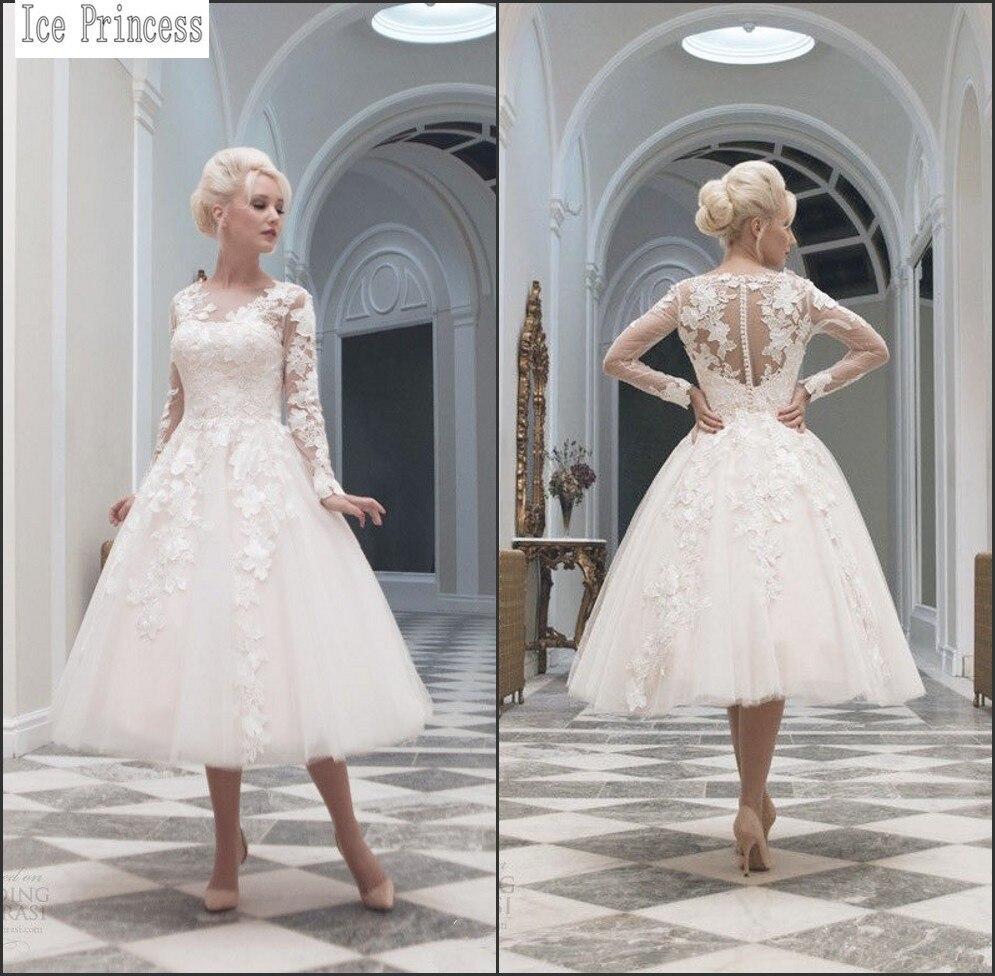 2015 Custom Made Sexy Long Sleeve Tea Length Wedding Dress Plus Size