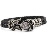 New Fashion Hot Sale Men's Stainless Steel Black Leather Bracelets Accessories Punk Style Bracelet Jewelry Wholesale