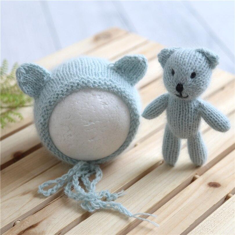 Crochet Baby Newborn Bonnet Bear Hat And Teddy Bear Toy Set Photo Prop Hot Sale