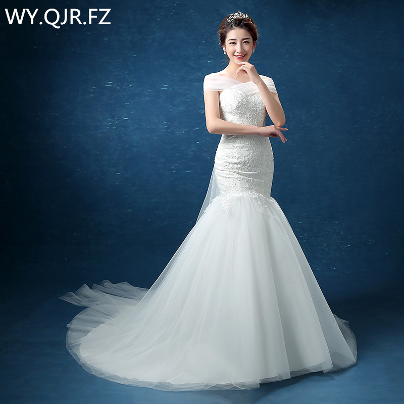 LYG D95 A small trailing fish tail Off Shoulder lace up wedding party dress gown prom