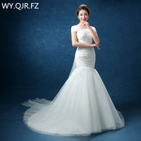 LYG D95#A small trailing fish tail Off Shoulder lace up wedding party dress gown prom Bridal fashion dresses cheap wholesale