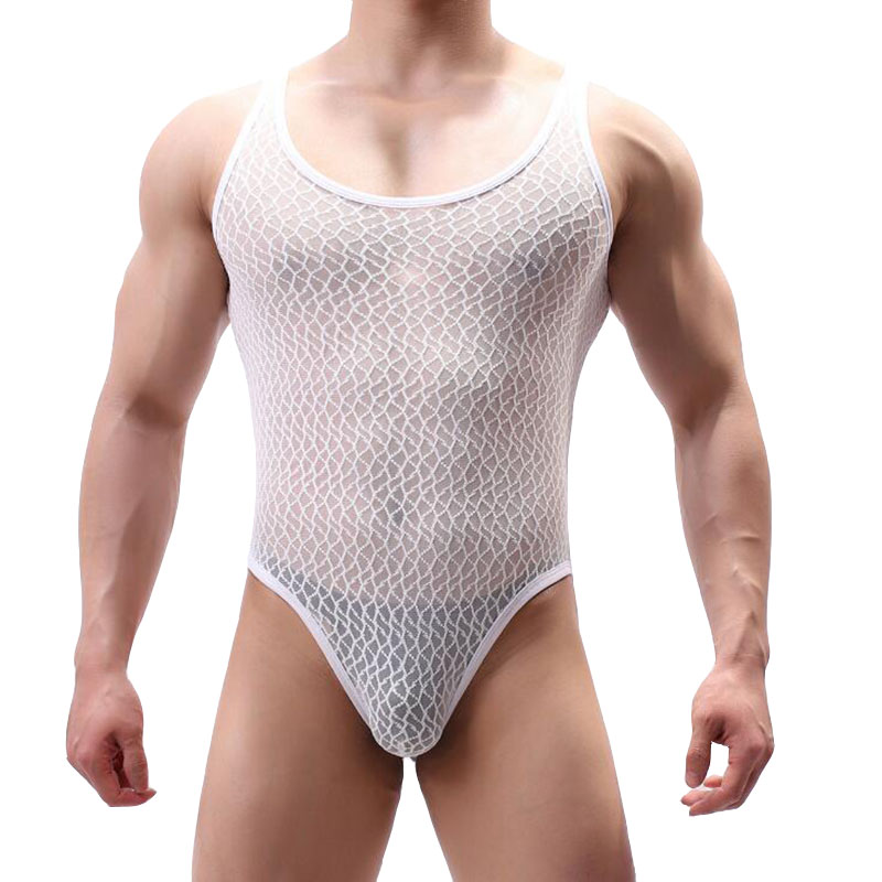 KWAN.Z Shapewear Cinta Modeladora Masculina Lace Transparent Bodysuit Men Body Shaper Men Underwear Erkek Korse Men Bodysuit