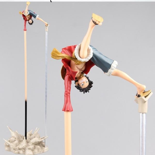 Luffy figura de acción de ONE PIECE, juguete de pistola de goma, soporte de mano largo boca abajo, modelo de batalla de PVC de 35CM