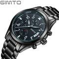 2017 GIMTO Men sports Watches Business quartz-watch Men steel band waterproof Quartz Clock Auto Date Multifunction Watches