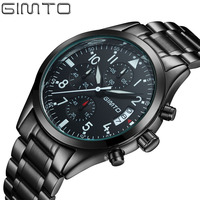 2016 GIMTO Men Sports Watches Business Quartz Watch Men Steel Band Waterproof Quartz Clock Auto Date