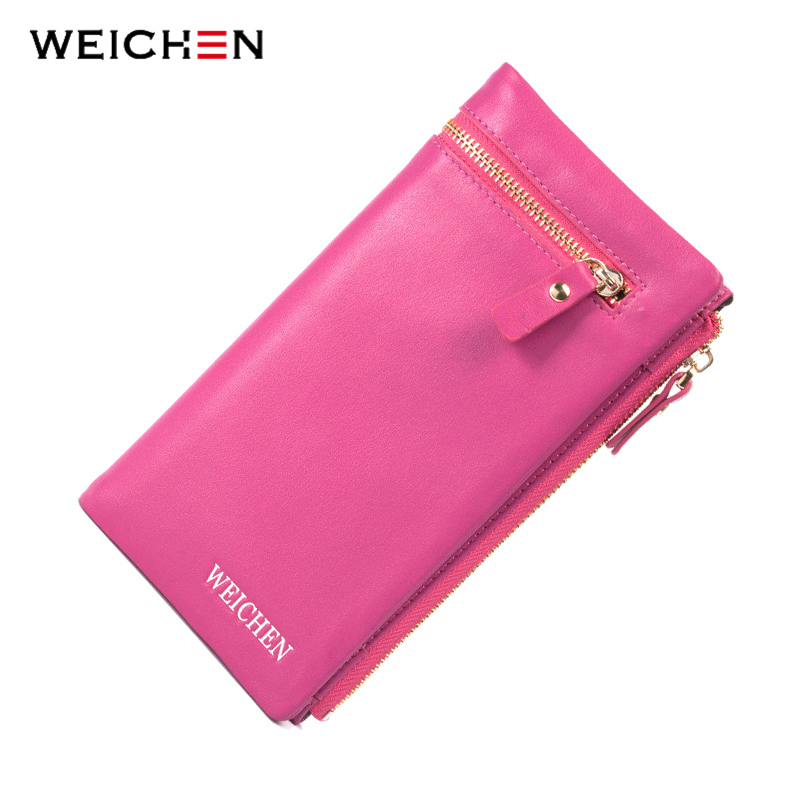 купить WEICHEN Cow Genuine Leather Rose Clutch Wallets For Women Purse Female Long Purse Card Holder Zip Money Coin Pocket Phone Bag недорого