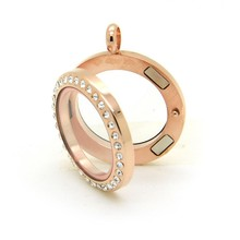 10Pcs/lot 20mm Rosegold stainless steel with Rhinestone floating locket magnetic living memory glass pendant