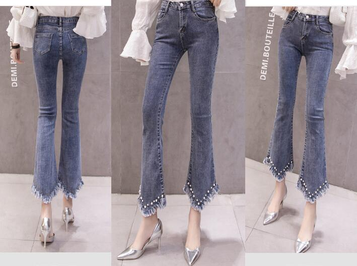 High Waist Women Jeans Flare Pants Tessal Bead Slim Fashion Pants High Waist High Elastic Ankle-Length Denim Trousers 7