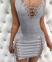 Cuerly Party Sexy Solid Sheath Party Club Lace Up bandage Deep V Sexy Sheath Dress Summer Women Going Out Dresses Vestidos