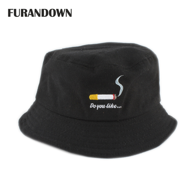 1092caf00aa Smoking embroidery bucket hat for men women hip hop cap fisherman hats  panama bob hat summer flat hat