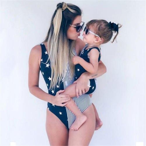 Mom Girl Matching One-piece Swimsuit Ladies Girls Stars Striped Swimwear Swimsuits Bikini Beach Costume Clothing irbis tz10 3g black