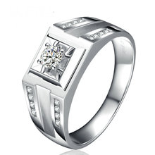 Natural Diamond Wedding Ring for Men 0.19+0.22ct Diamond Handmade Engagement Jewelry 18K White Gold