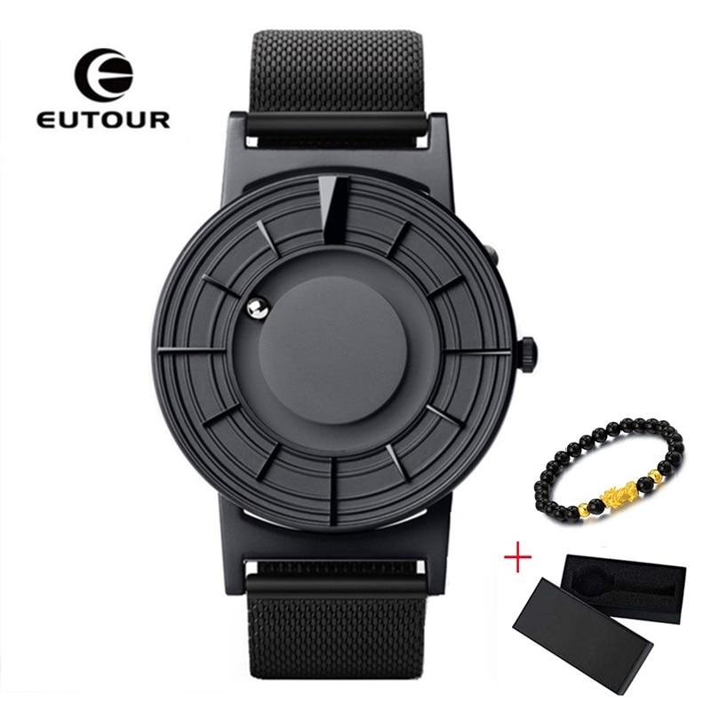 2019 New EUTOUR Magnetic Men Watch Ball Show Man Women Casual Quartz Wristwatches Stainless Steel Men Watches Relogio Masculino