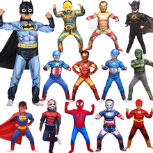 2018 Halloween Children's Cosplay Costume Superman Spiderman Kids Costume Bodysuit Cloak Mask Cosplay Accessories For Boys Girls