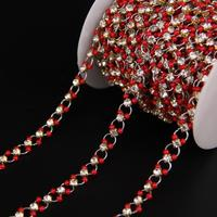 5Meters/Clear Rahinstone,Red Cube Crystal Glass Rosary Chain,Plated Sliver Brass Circle Link Chain Necklace Sweater chains