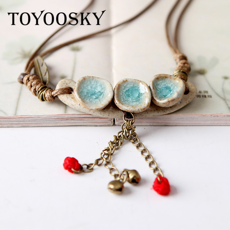 product Original handmade ice crack glaze ceramic collar female short paragraph Necklace national wind small adorn article
