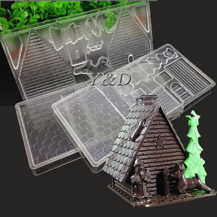 For Christmas Decoration Gift Polycarbonate PC Hard Plastic Xmas Candy House Mould With Santa Claus Deer