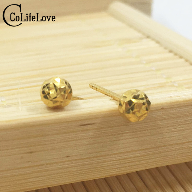 b712c0cb1 Classic 18k yellow gold stud earrings small dazzling ball gold stud earring  Solid 0.9g AU750 stamp 18k gold earrings romantic