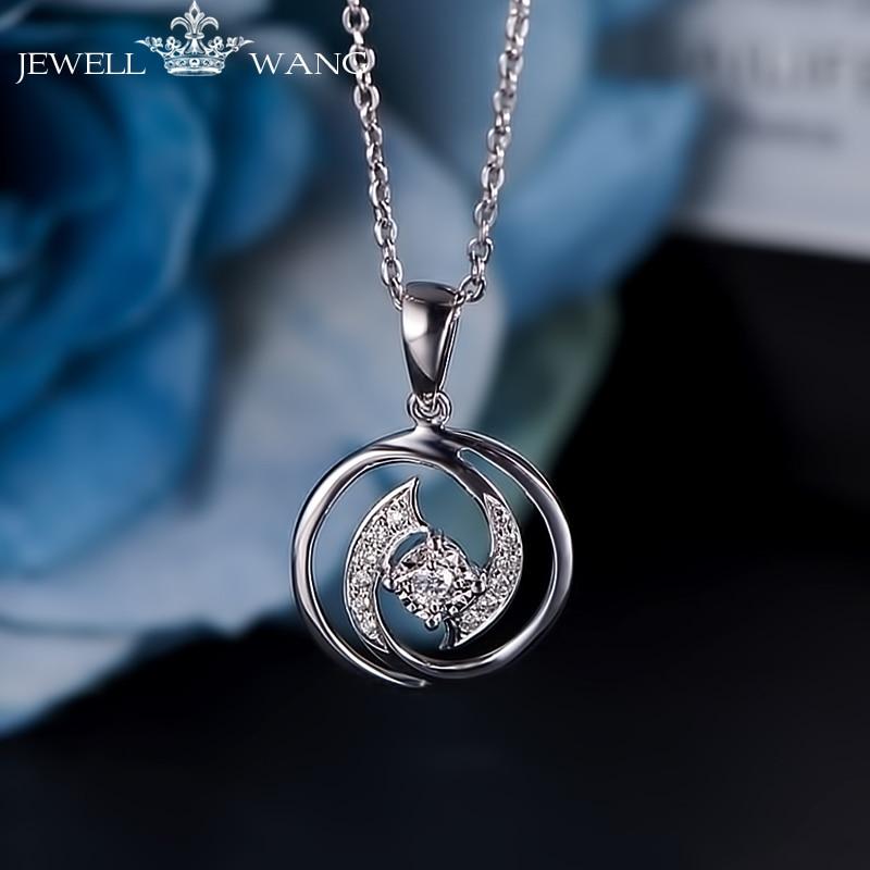 JEWELLWANG 0.3CT Effect Diamond Pendant 18K White Gold for Women Necklace Shiny Light Luxury Girl Gift Certified Unique Pendants