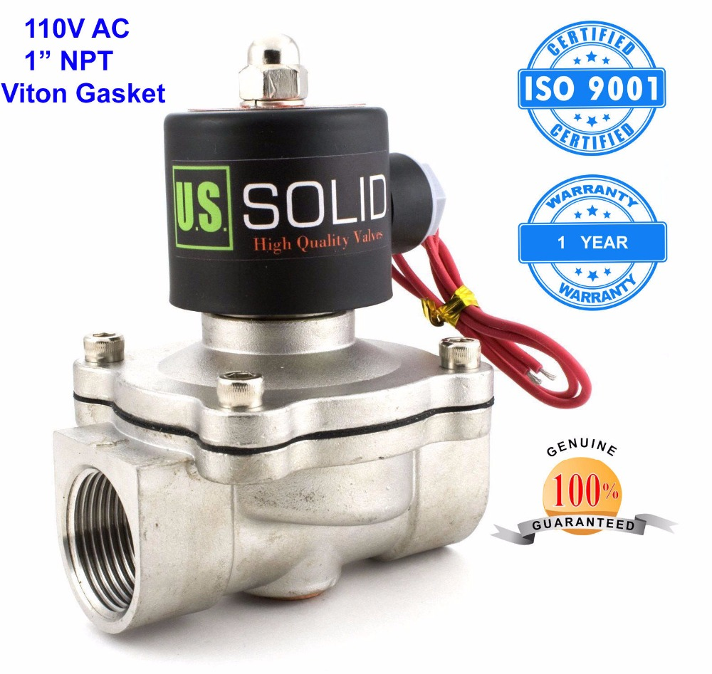 U.S. Solid 1 Stainless Steel Electric Solenoid Valve 110V AC NPT Thread Normally Closed water, air, diesel... ISO Certified u s solid 3 4 stainless steel electric solenoid valve 110 v ac g normally closed diesel kerosine alcohol air gas oil water