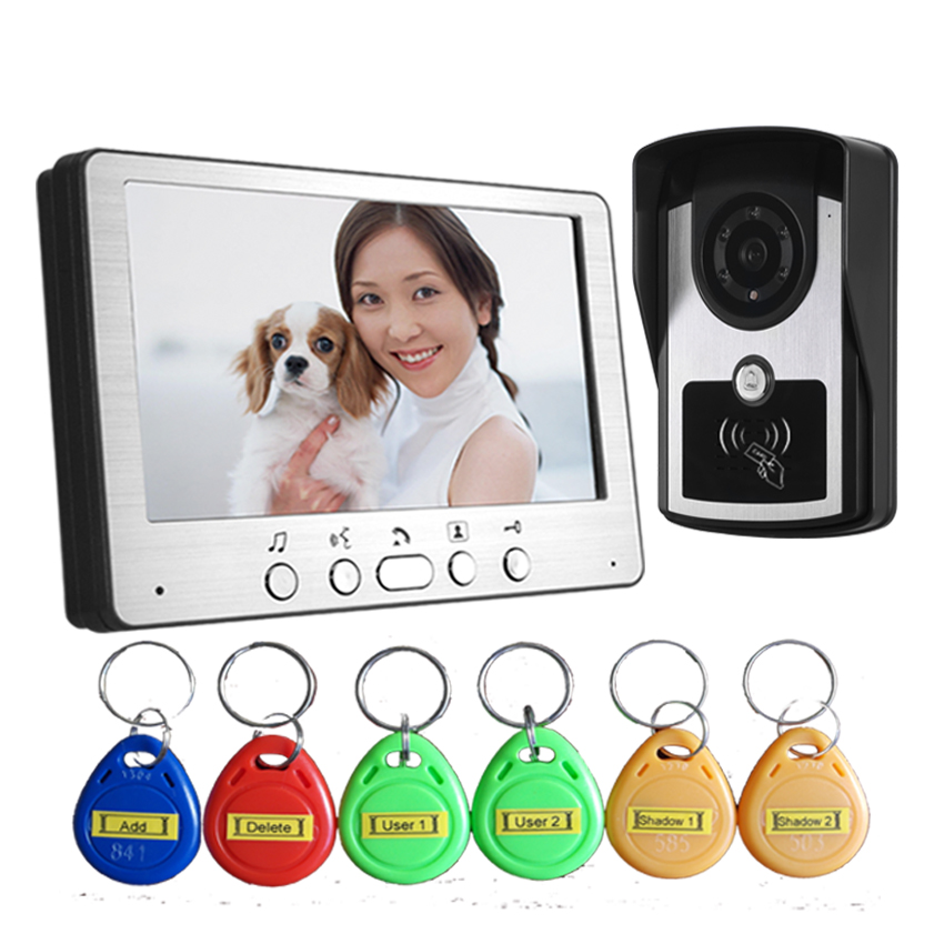 7 Inch  ID Card Access Control Wired Intercom Video Door Phone one key call 700tvl for wired video door phone outdoor camera id card access control