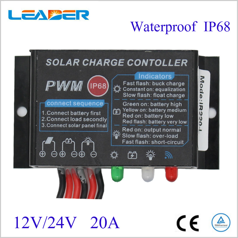 5PCS PWM 20A Waterproof Solar Charge Controller 12V 24V LED Display Solar Panel Charge Regulator For LED Light 1pcs intelligent pwm 20a 12v 24v solar panel charge adapter regulator controller for solar power control