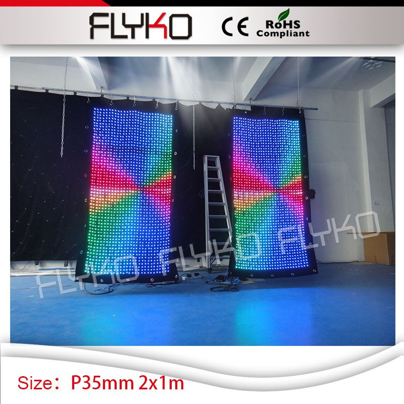 club bar cafe shop decoration P3.5cm colorful RGB full color 2m high*1m width fireproof  ...