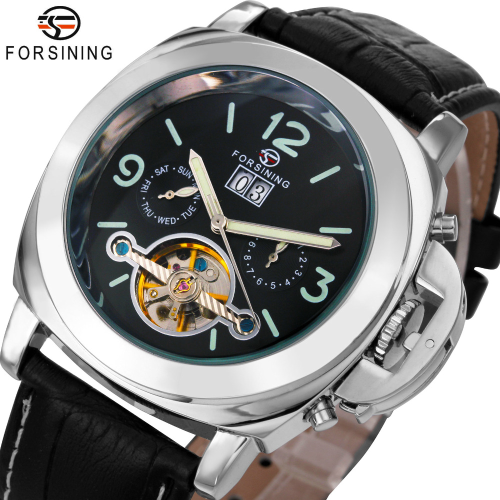 WINNER PN Design Luxury Automatic Tourbillon Mechanical Watch Leather Strap Fluorescence Dial Calendar Date montre homme+BOX winner men posh mechanical wrist watch leather strap tourbillion sub dial roman number crystal skeleton dial montre homme box
