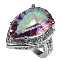 Huge Rose Rainbow Crystal Zircon With Multi White Crystal Zircon 925 Sterling Silver Ring For Women Size 6 7 8 9 10 11 F1504