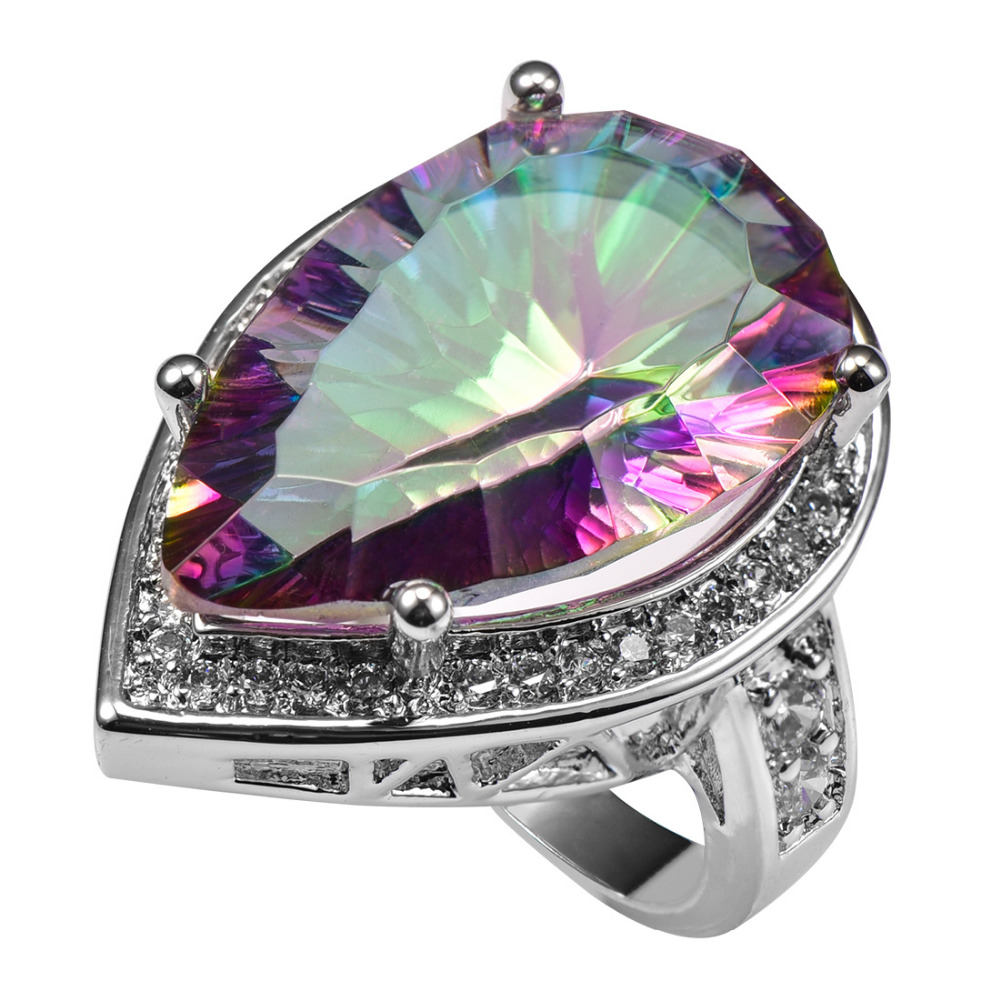 Huge Rose Rainbow Crystal Zircon With Multi White Crystal Zircon 925 Sterling Silver Ring For Women Size 6 7 8 9 10 11 F1504 equte rssw28c1s7 elegant women s titanium steel zircon ring silver usa size 7