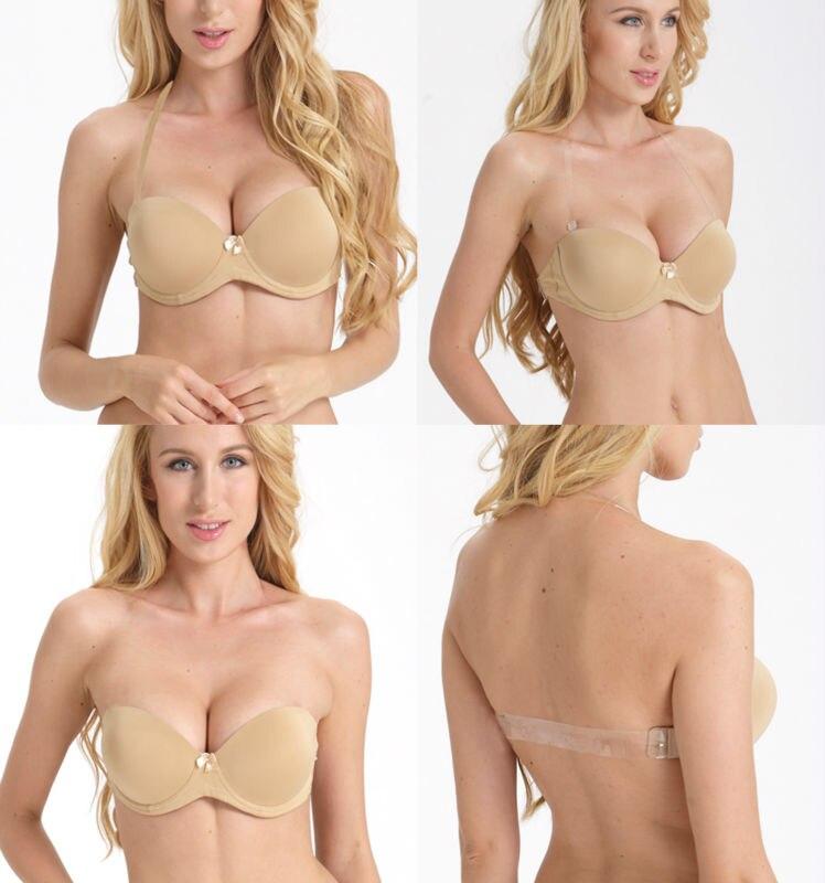 Lady Ultra Deep U Plunge Push Up Bra Underwear Multiway Clear Back Straps Bras