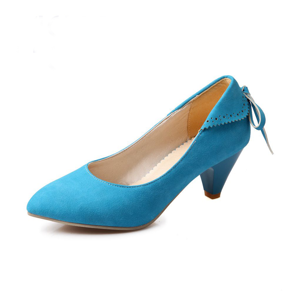 Sweet style fashion Butterfly-knot woman shoes pumps Pointed Toe Spring/Autumn Flock Leather Office & Career work pumps woman new 2017 spring summer women shoes pointed toe high quality brand fashion womens flats ladies plus size 41 sweet flock t179