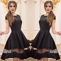 Hot!!! 2016 New Sexy Women Girl High Quality Fshion   Women Fashion Knee-length Casual O-neck A-line Short Sleeve Chiffon Dress