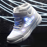 High Quality Kids Led Shoes Children High Top USB Charge Light Up Girls Shoes With Lights Boys Sports Sneakers