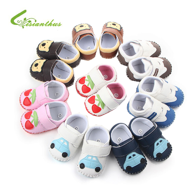 2018 Autumn/Spring Baby Shoes Newborn Boys Girls PU Leather Moccasins First Walkers Shoes Cartoon Non-slip Footwear Crib Shoes