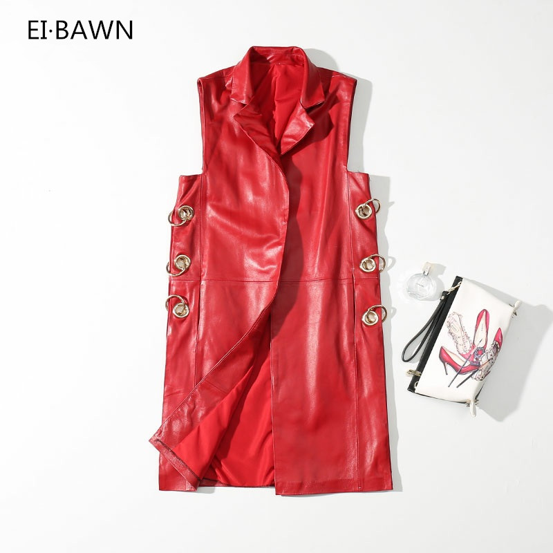 2018 Autumn Leather Vests Women Coat Real Sheepskin Plus Size Red Sleeveless Top Vintage Long Vest Waistcoat Women Leather Vest