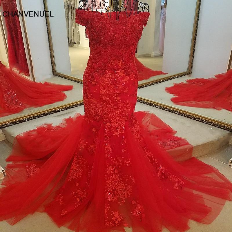 LS45980 rode avondjurk lieverd tulle lace-up terug uit de schouder luxe sexy kralen zeemeermin formele jurk echte foto's