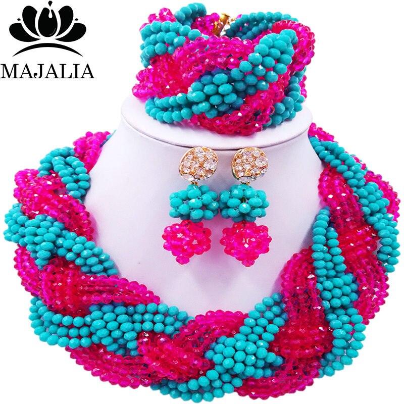 Majalia African Fashion Women Jewelry Set Hot pink aqua blue Nigerian Wedding Jewelry Beaded Sets 12CB0019 majalia african fashion women jewelry set royal blue nigerian wedding jewelry beaded sets 12cb006