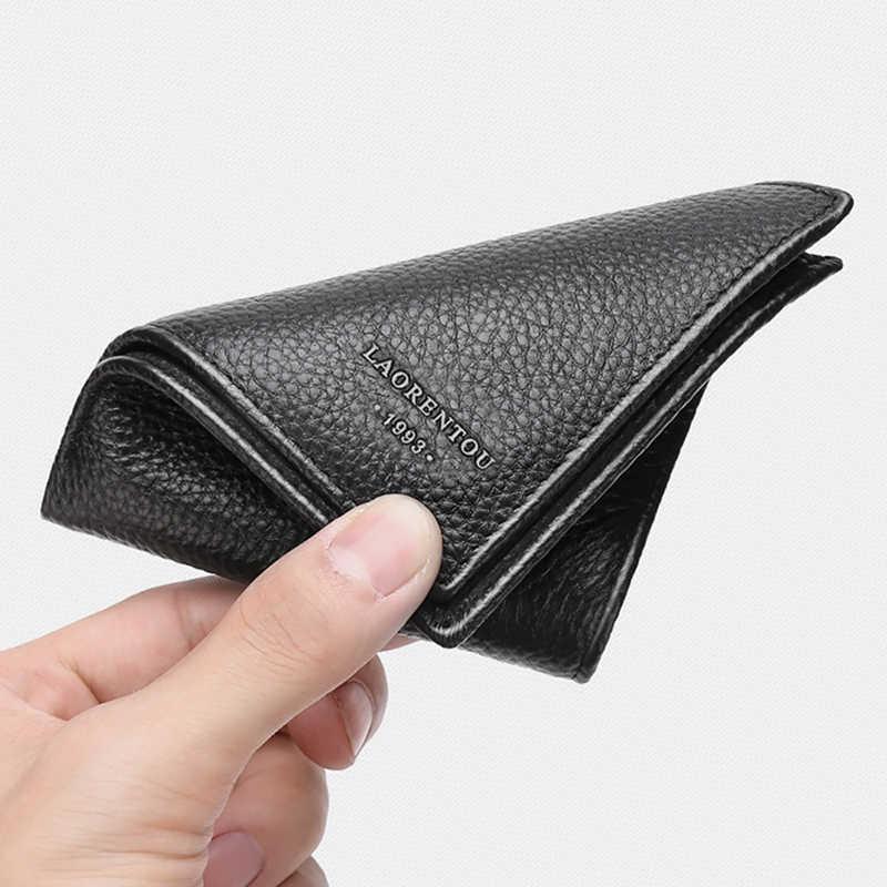 Laorentou Echt Leer Mannen Portefeuilles Rijbewijs Houder Vintage Casual Lederen Portemonnee Card Case Slim Portemonnee Voor Mannen