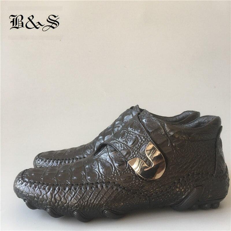 Noir et Rue 2019 Crocodile modèle occasionnel véritable en cuir de luxe hommes de chaussures en cuir paresseux mocassins chaussures