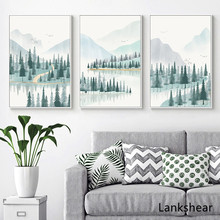 Watercolor Forest River Mountain Landscape Wall Art Canvas Painting Nordic Posters And Prints Pictures Unframed Home Decor