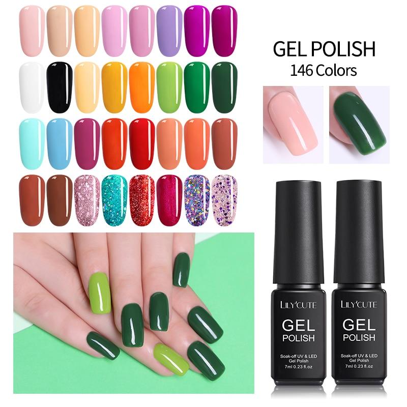 LILYCUTE 7ml Nail UV Gel Polish Long Lasting Pure Colorful Soak off UV Gel Nail Art Decoration Gel Varnish Manicure Design in Nail Gel from Beauty Health