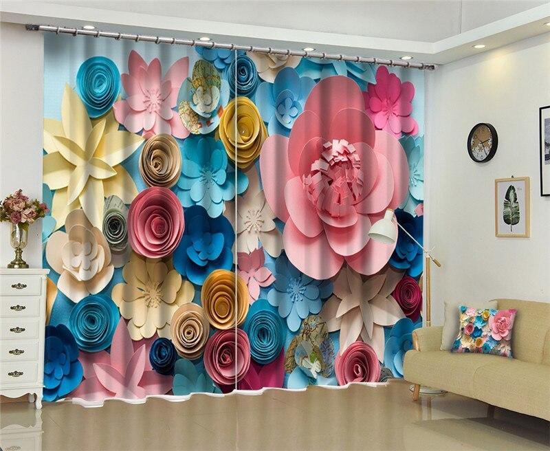 Sculpté fleur fenêtre occultant 3D rideaux ensemble pour lit salon bureau hôtel maison mur décoratif drapé tapisserie
