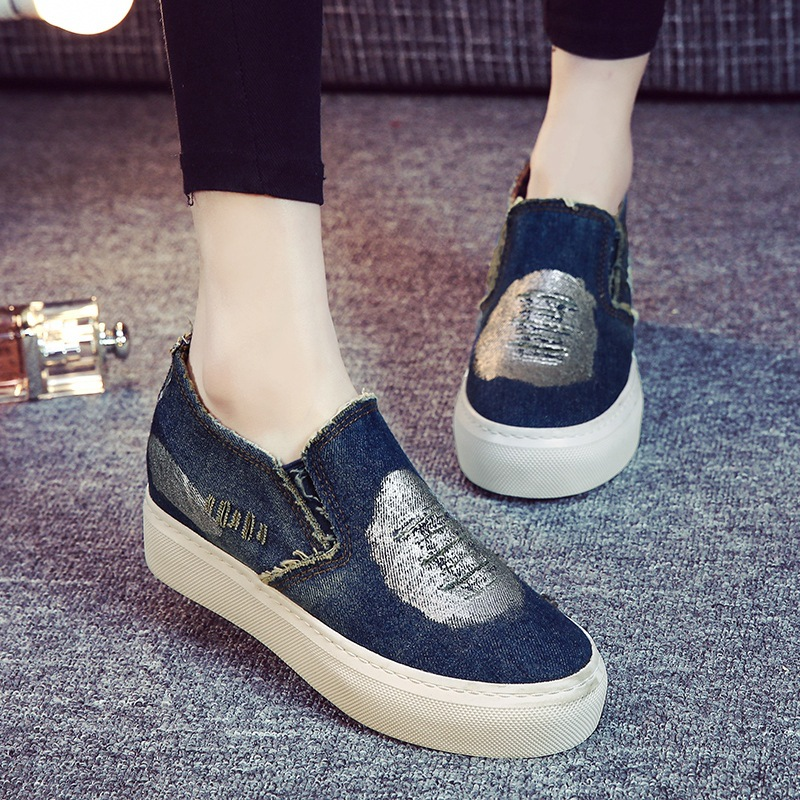 2016 New Spring Summer Fashion Style font b Women b font Denim Canvas Loafers Shoes Platform